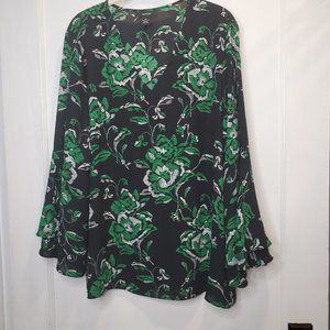 Alfani, Black/green Vneck Tunic, 16